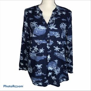 Old Navy pull over long sleeve palm tree top M